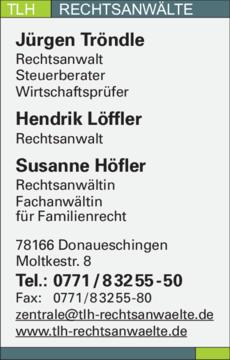 Anzeige Tröndle Jürgen, Löffler Hendrik, Höfler Susanne