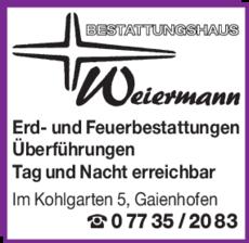Anzeige Bestattung Beerdigung Weiermann