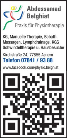 Anzeige Praxis für Physiotherapie Belghiat