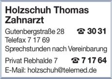 Anzeige Holzschuh Thomas