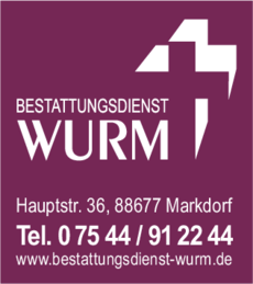 Anzeige Wurm GmbH Bestattungen