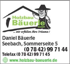 Anzeige Holzbau Bäuerle GmbH