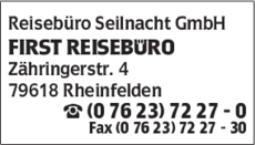 Anzeige Reisebüro Seilnacht GmbH , FIRST REISEBÜRO