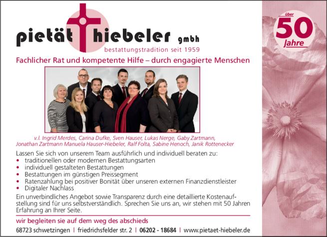Anzeige Pietät Hiebeler GmbH