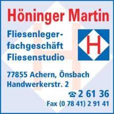 Anzeige Höninger Martin