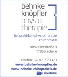 Anzeige Behnke Frank, Physiotherapie