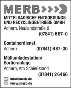 Anzeige Mittelbadische Entsorgungs- u. Recycling-Betriebe GmbH