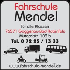 Anzeige Fahrschule Mendel