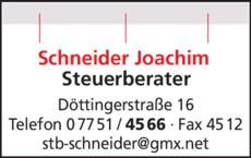 Anzeige Schneider Joachim