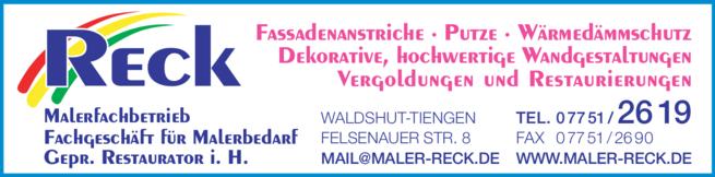 Anzeige Reck Martin Malerfachbetrieb