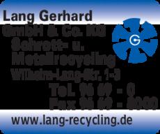 Anzeige Gerhard Lang GmbH & Co. KG