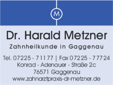 Anzeige Metzner Harald Dr.