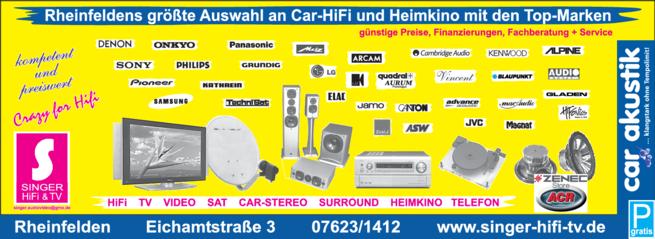 Anzeige Singer Hifi & TV