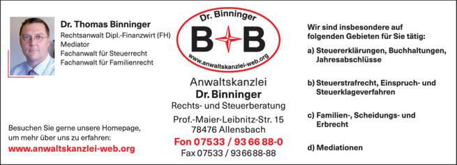 Anzeige Binninger Th. Dr., Rausch Uta Dr.