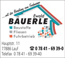 Anzeige Bäuerle Ewald