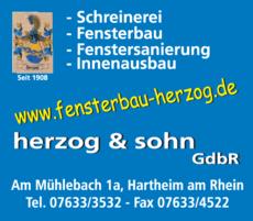 Anzeige Herzog & Sohn , Schreinerei-Fensterbau