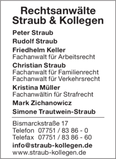 Anzeige Straub & Kollegen