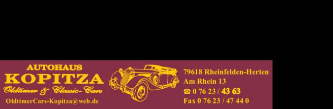 Anzeige Autohaus Kopitza , Oldimer & Classic Cars