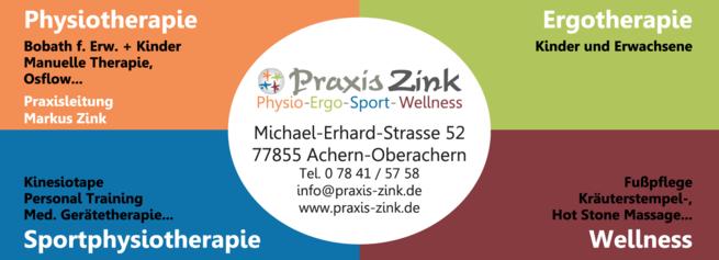 Anzeige Praxis Zink Physio - Ergo - Sport - Wellness