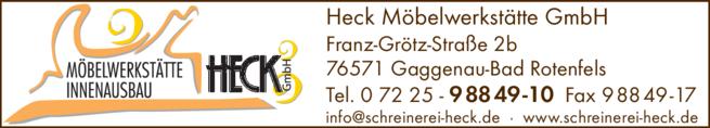 Anzeige Heck Möbelwerkstätte GmbH