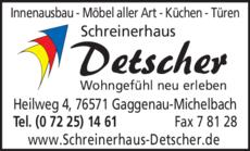Anzeige Schreinerhaus Detscher