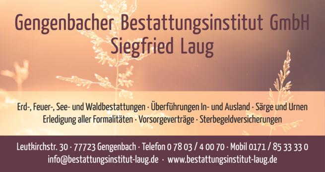 Anzeige Gengenbacher Bestattungsinstitut GmbH