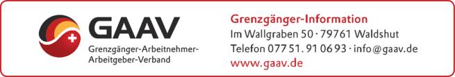 Anzeige Grenzgänger-Info des GAAV