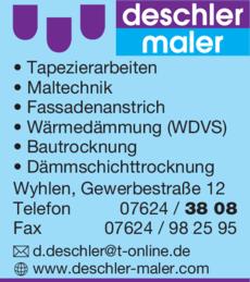 Anzeige Deschler Maler