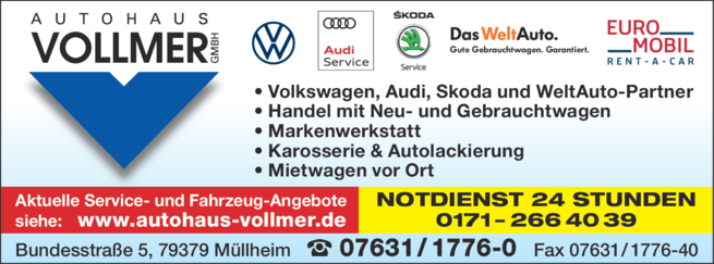 Anzeige Autohaus Vollmer GmbH