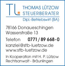 Anzeige Lützow Thomas, Steuerberater