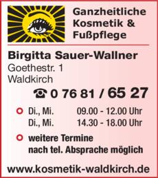 Anzeige Sauer-Wallner Birgitta
