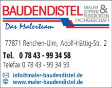 Anzeige Baudendistel Maler & Fußbodenfachgeschäft