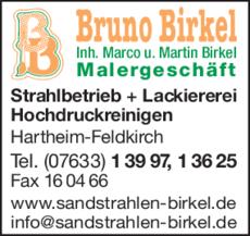 Anzeige Birkel Bruno , Malergeschäft
