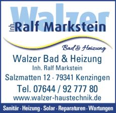 Anzeige Walzer Inh. Ralf Markstein, Bad & Heizung