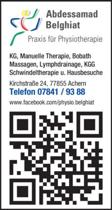 Anzeige Belghiat , Praxis für Physiotherapie