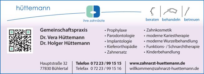 Anzeige Hüttemann Holger Dr. u. Hüttermann Vera Dr.
