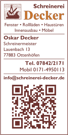Anzeige Decker Oskar Schreinerei