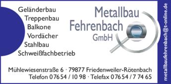 Anzeige Fehrenbach Metallbau GmbH