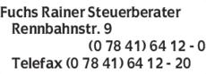 Anzeige Fuchs Rainer Dipl. Finanzwirt (FH) Steuerberater
