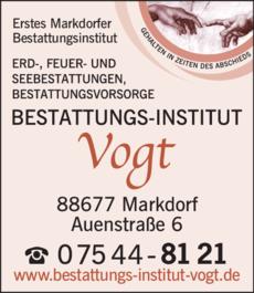 Anzeige Vogt Bestattungs-Institut