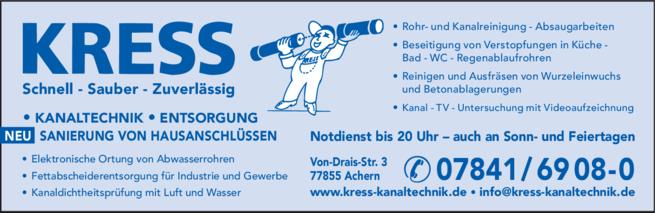 Anzeige KRESS GmbH Kanaltechnik