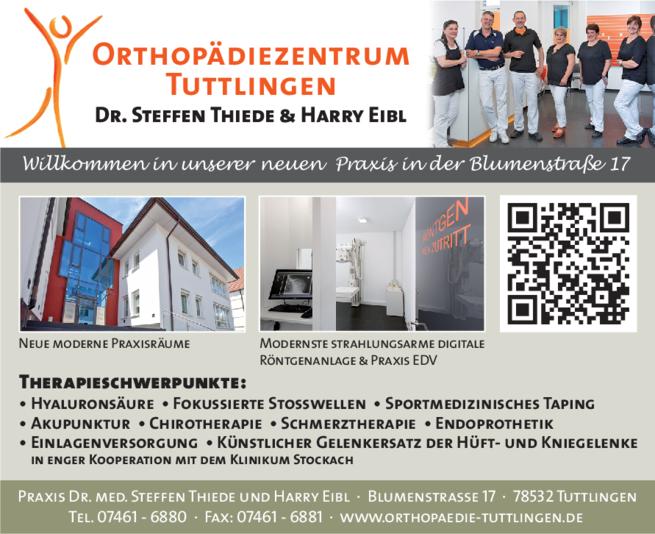 Anzeige Orthopädiezentrum Tuttlingen , Dr. Steffen Thiede u. Harry Eibl