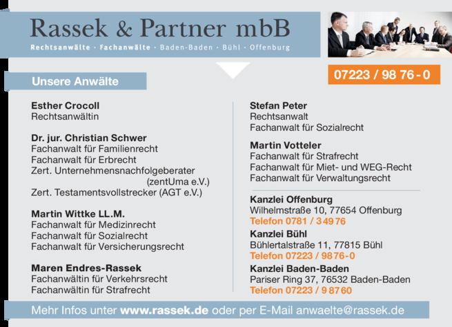 Anzeige Rassek & Partner mbB