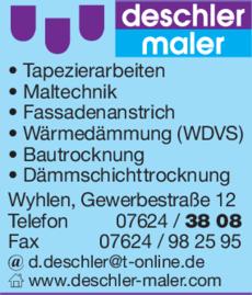 Anzeige Maler Deschler