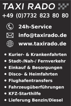 Anzeige Taxi Rado