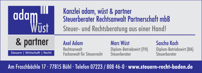 Anzeige adam, wüst & partner Steuerberater Rechtsanwalt Parnerschaft mbB