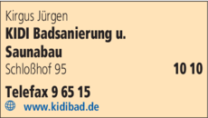 Anzeige Kirgus Jürgen KIDI Badsanierung u. Saunabau