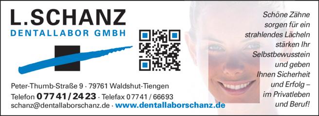 Anzeige Schanz L. Dentallabor GmbH
