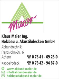 Anzeige Maier Klaus Holzbau u. Akustikdecken GmbH