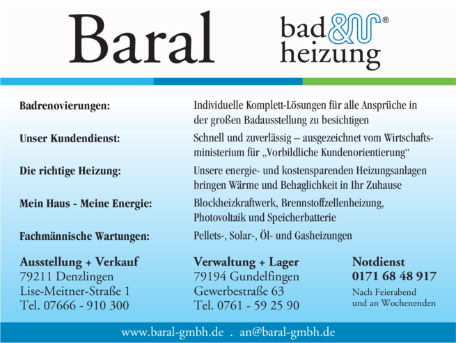 Anzeige Baral GmbH